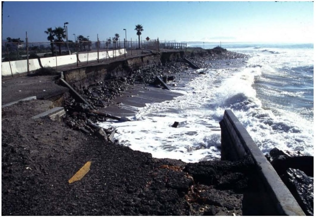 Before Phase 1 of Ventura, CA Managed Retreat Project at Surfers' Point (Credit: Paul Jenkin, 1995)