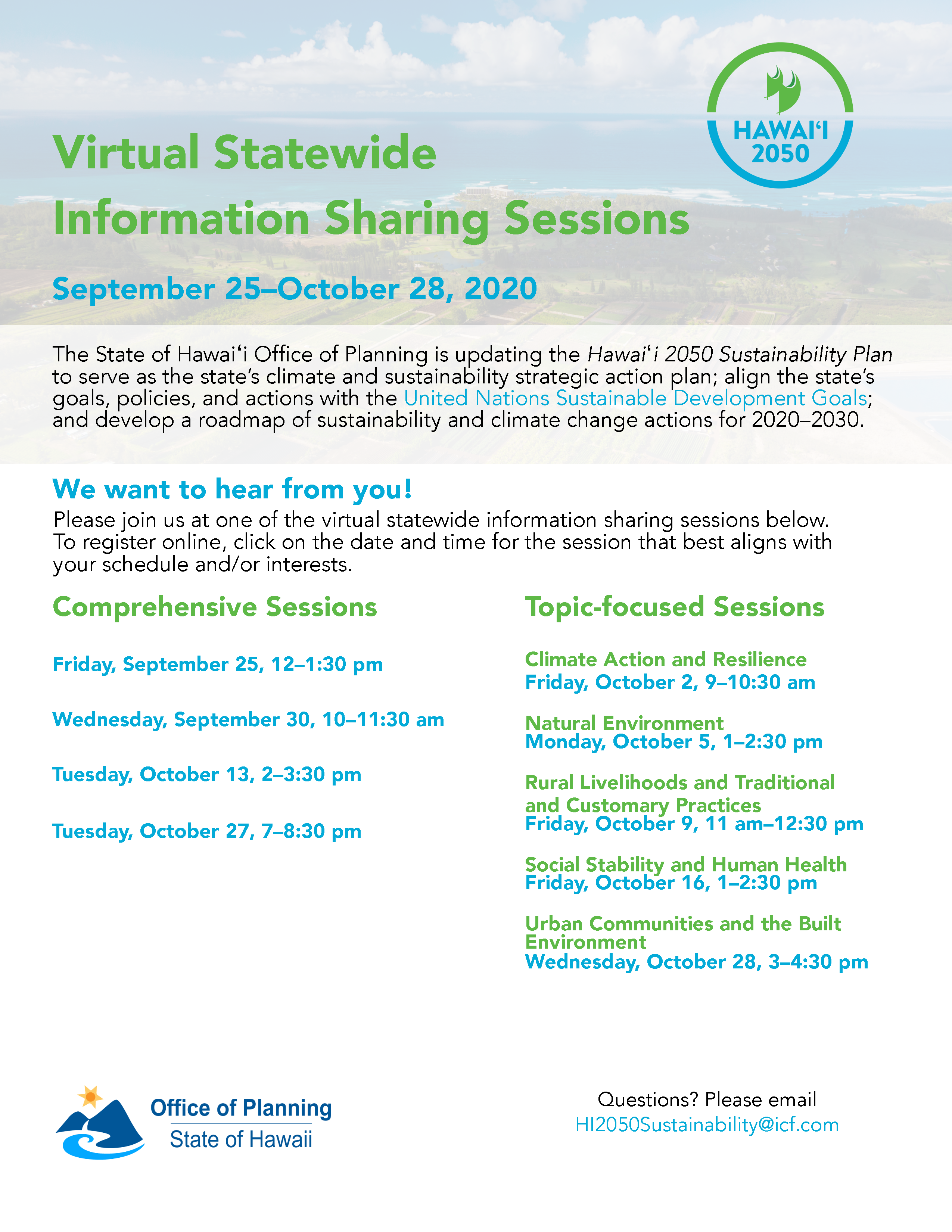 Hawaii 2050 Sustainability Update: Flyer about Information Sessions