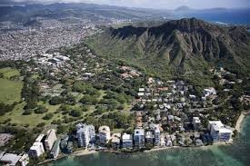 aerial view of Waikiki from ocean towards Diamond Head, with Kapiolani Park in foreground
